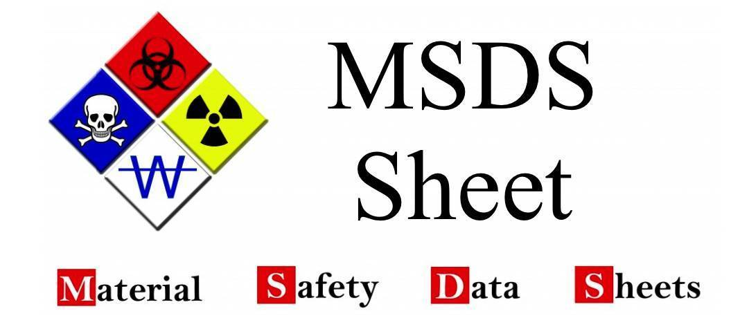 MSDS data sheet for the wipes